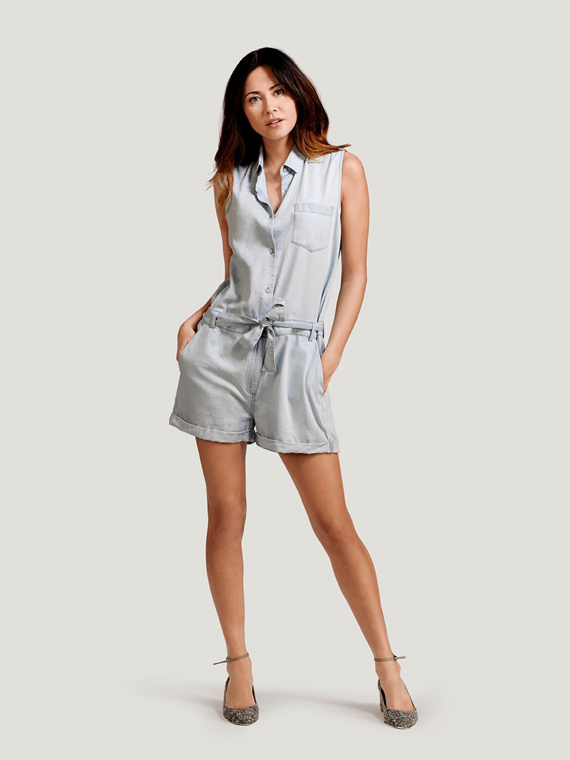 Image of Bridgehampton Romper / Mid Wash