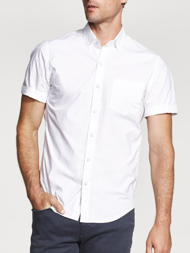 Men Shirt - Bowery & Bleecker Slim Short Sleeve White - DL1961