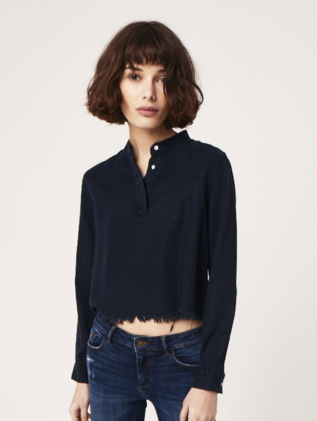 Women Shirt - W 3Rd & Sullivan Long Sleeve Crop Washed Black Overdye - DL1961