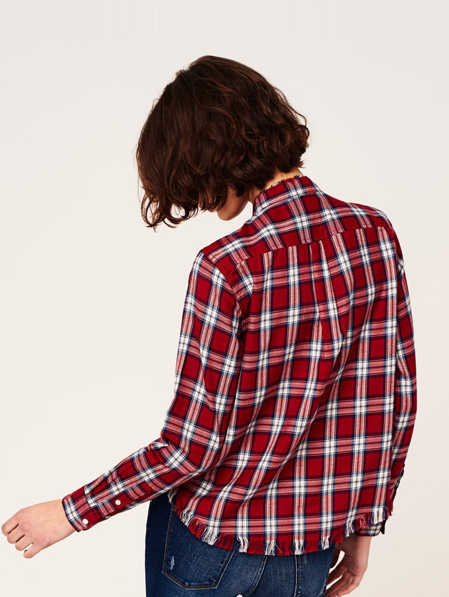 Women Shirt - W 3Rd & Sullivan Long Sleeve Crop Red Plaid - DL1961