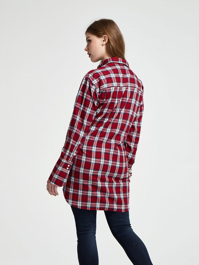 Women Shirt - Rivington & Essex Oversize Dress Red Plaid W. Paint Splatters - DL1961