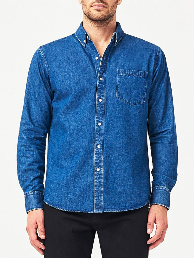 Men - Denim Button-Down - Hudson & Perry Slim Shirt Midwash | Indigo - DL1961