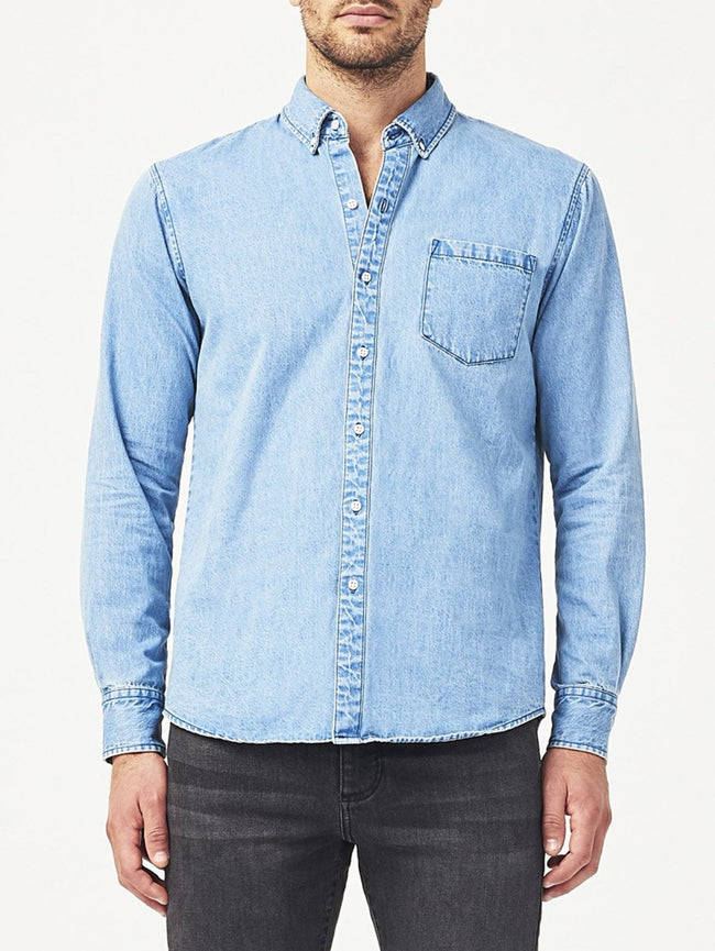 Men - Denim Button-Down Shirt - Hudson & Perry Slim Shirt | Light Wash Indigo - DL1961