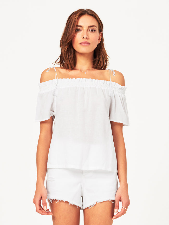 Women Top - Cornelia Off The Shoulder Top | White - DL1961