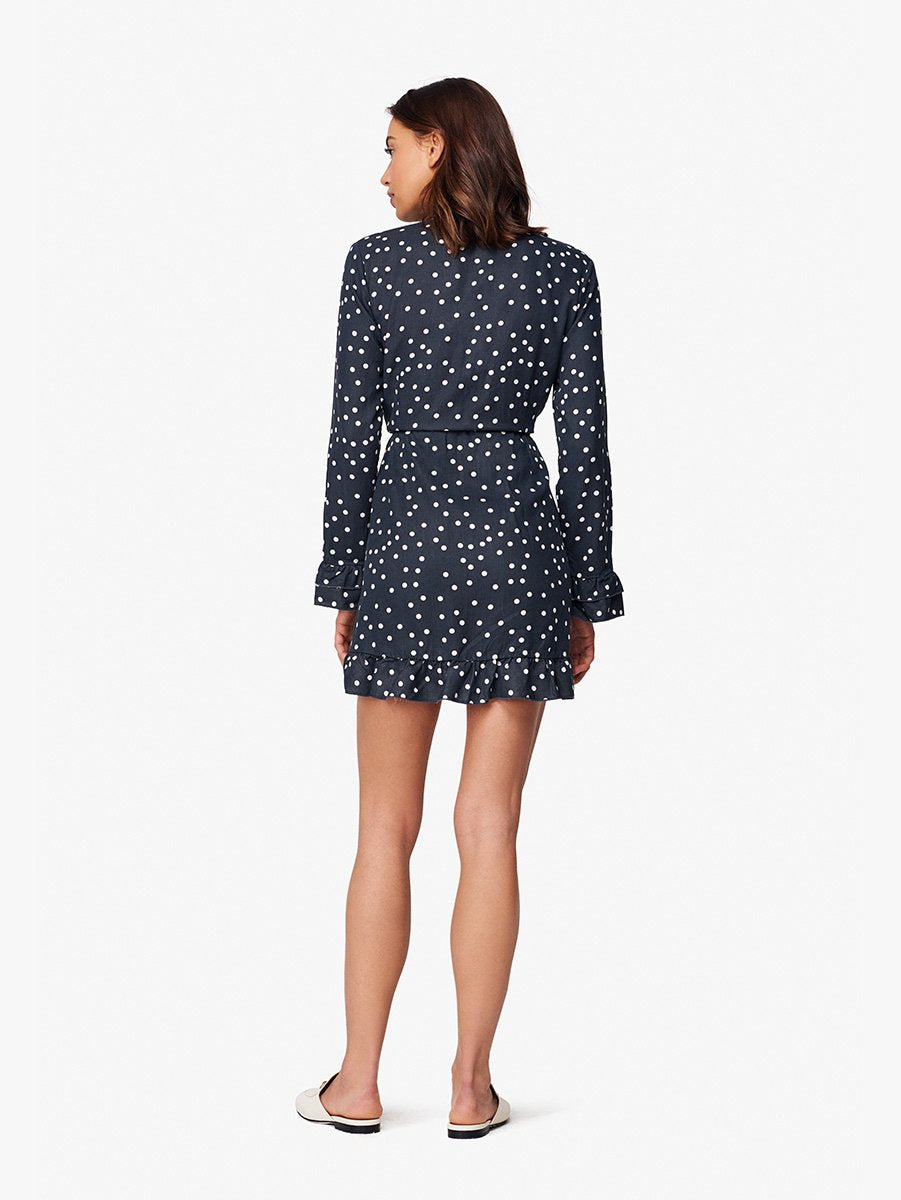 Ainsley Wrap Dress | Midnight Polka Dot DL 1961 Denim