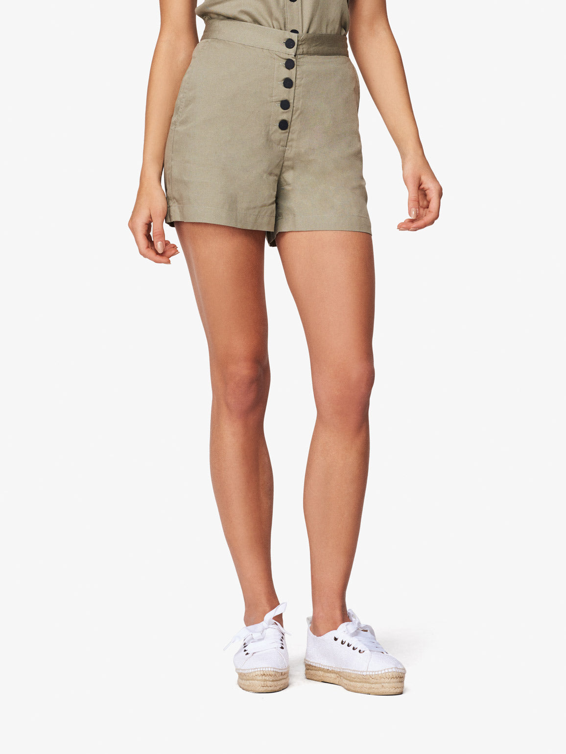 Image of Cortlandt Alley High Waisted Shorts / Sea Grass