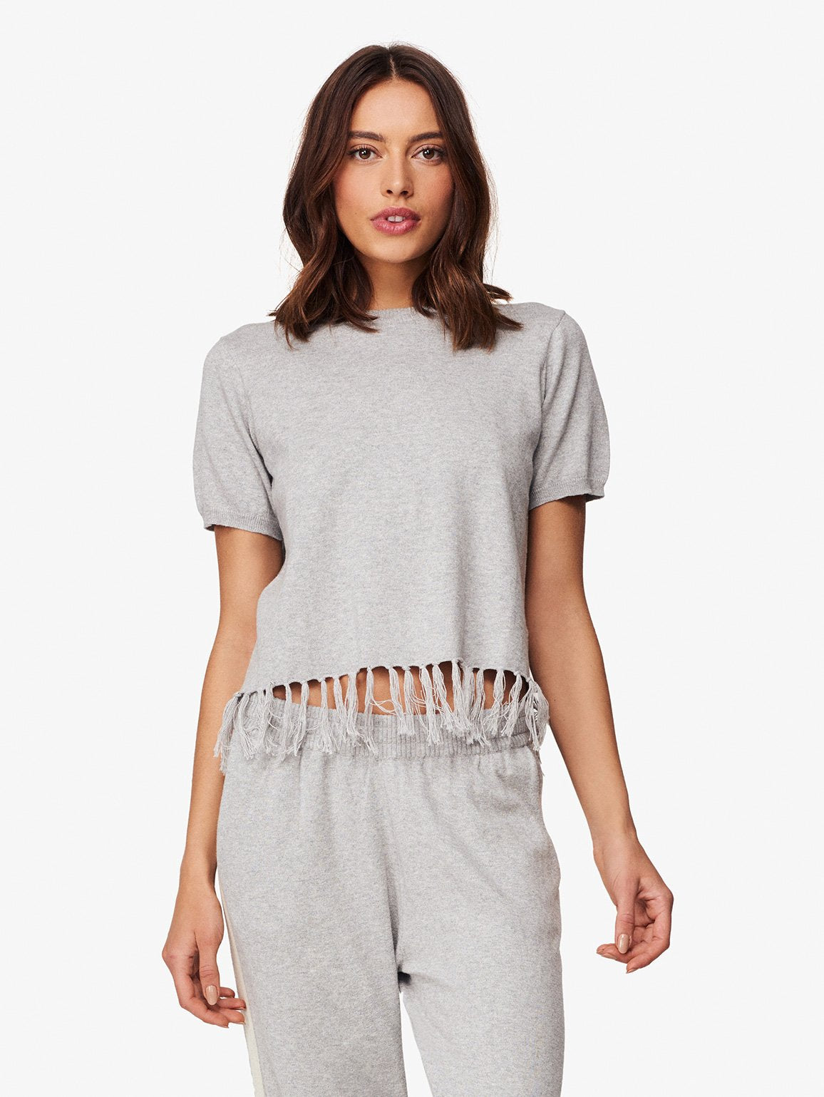 Tompkin Sq Fringe Knit Top | Heather Grey