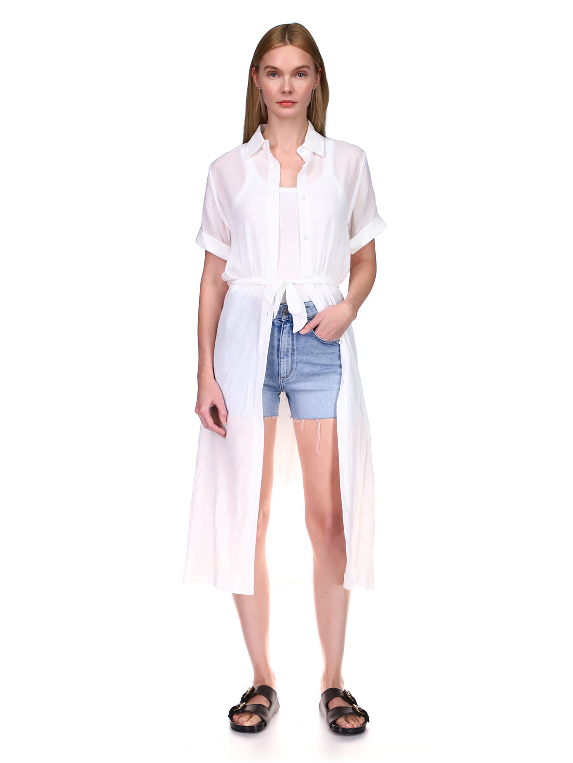 Fire Island Dress | Crinkled White