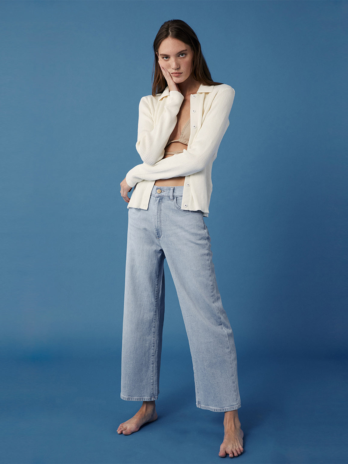 Hepburn Wide Leg High Rise Vintage | Baby Blue