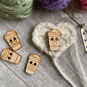 Wooden Coffee Cup Buttons and Coffee Heart Pin