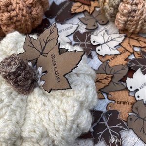 Vegan Leather Pumpkin Leaf Tags by Kathy's Kozies