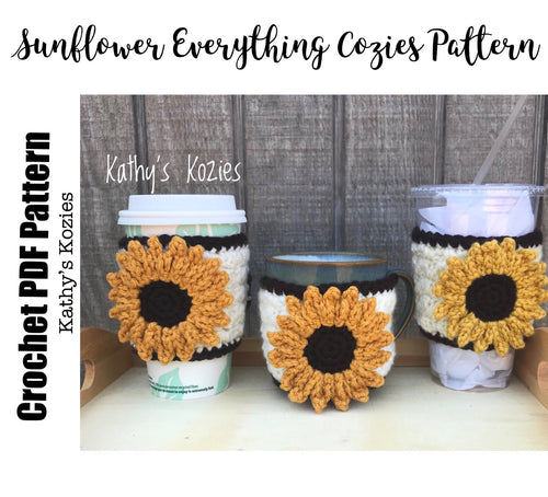 PDF PATTERN ONLY - Crocheted Sunflower Adjustable Everything Cozy