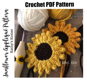 PDF PATTERN ONLY - Crocheted Sunflower Applique