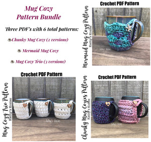 PDF PATTERN ONLY - Crochet Pattern Bundle - Mug Cozy, Drink Cozy, Mug Cosy, Mug hug