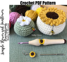 PDF PATTERN ONLY Simple Flower and Sunflower Crochet Pincushion