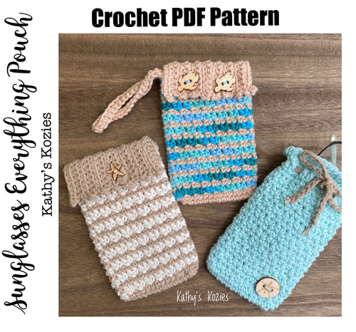 PDF PATTERN ONLY - Crochet Sunglass Everything Case / Phone Pouch / Wristlet / Drawstring /