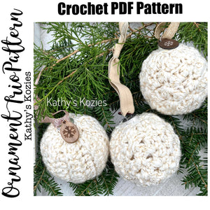 PDF PATTERN ONLY - Ornament Trio Pattern / Crochet Ornament Sweater / Cover