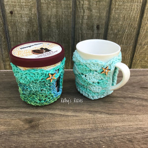 PDF PATTERN ONLY: Crochet Mermaid Mug Cozy / Ice Cream Cozy