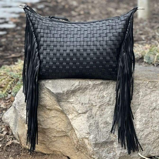 Boho Black Legacy Lattice Woven Leather Fringe Small - Bag