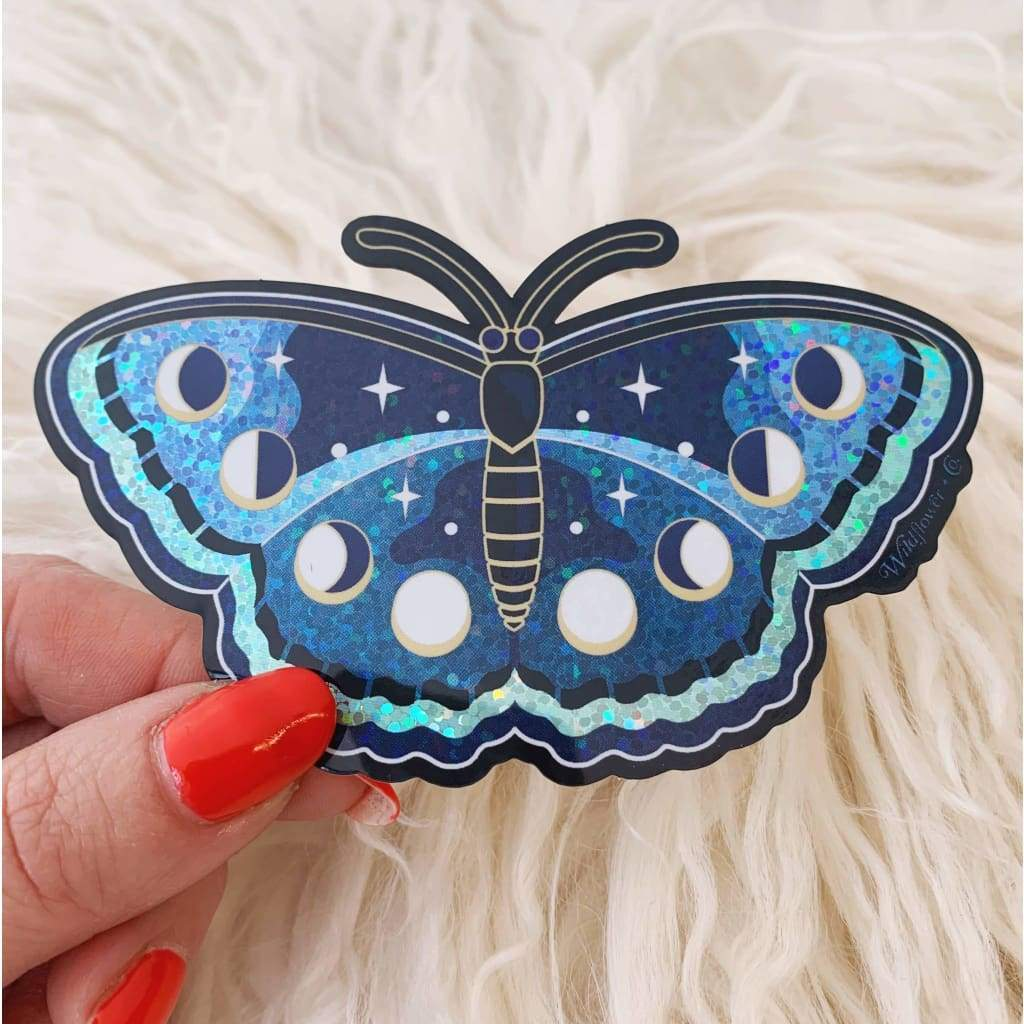 Wildflower + Co. - Lunar Butterfly Sticker - Glitter Holographic! - default