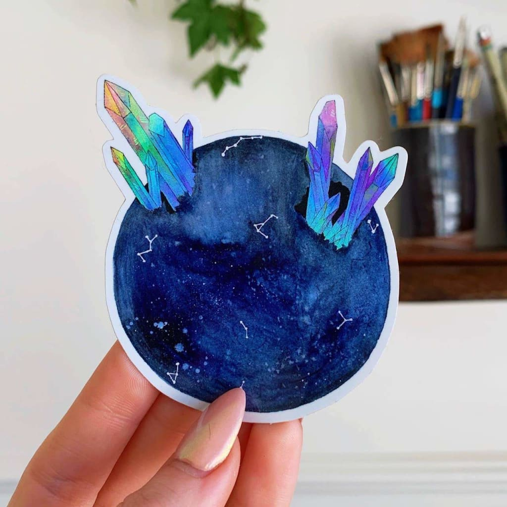 Custom Sticker Holographic Blue Moon - Sticker
