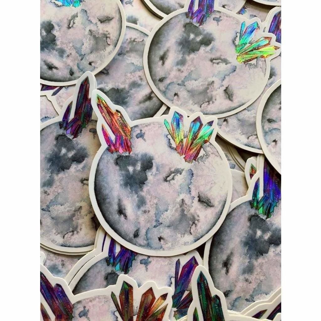 Custom Sticker Holographic Grey Moon - Sticker