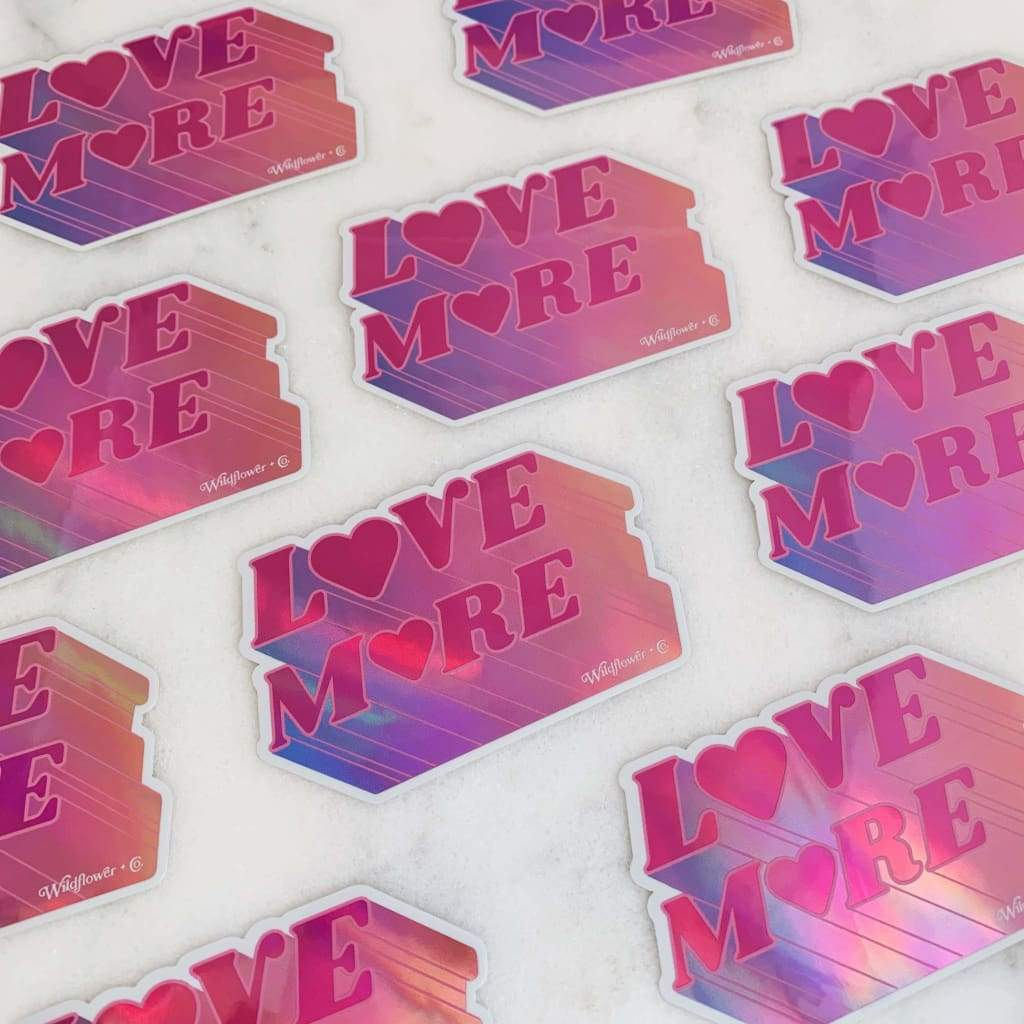 Wildflower + Co. - Love More Sticker Hot Pink Holographic - default