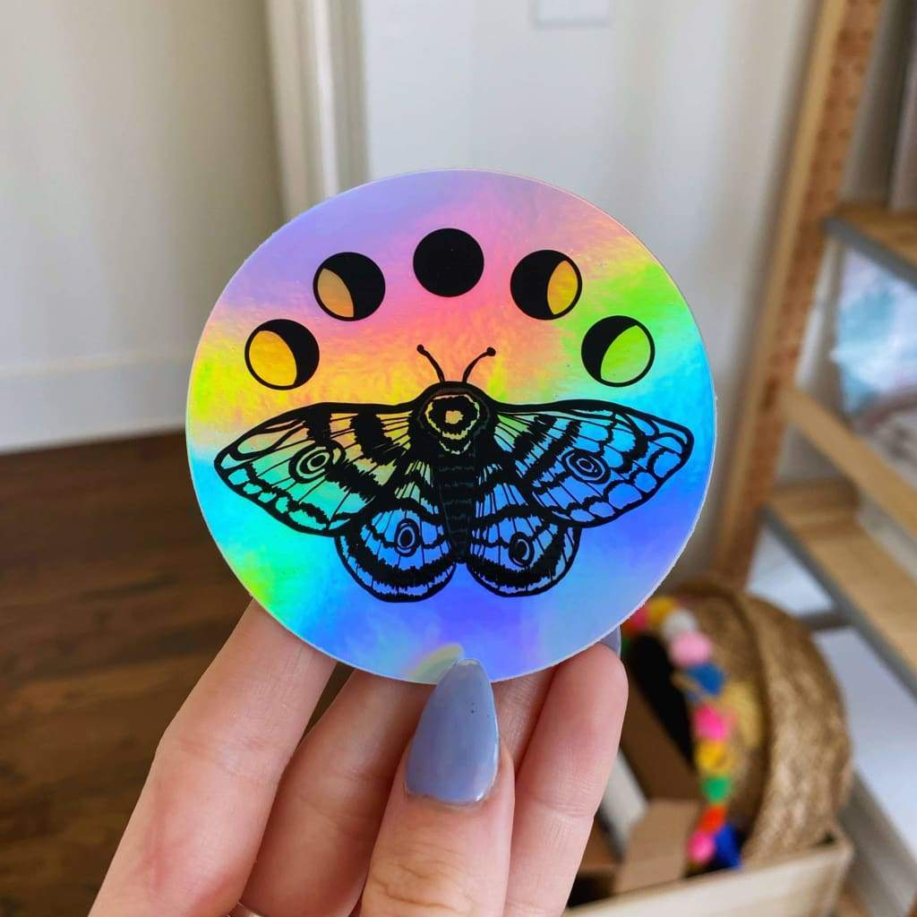 Jess Weymouth - Holographic Moons & Moth Sticker