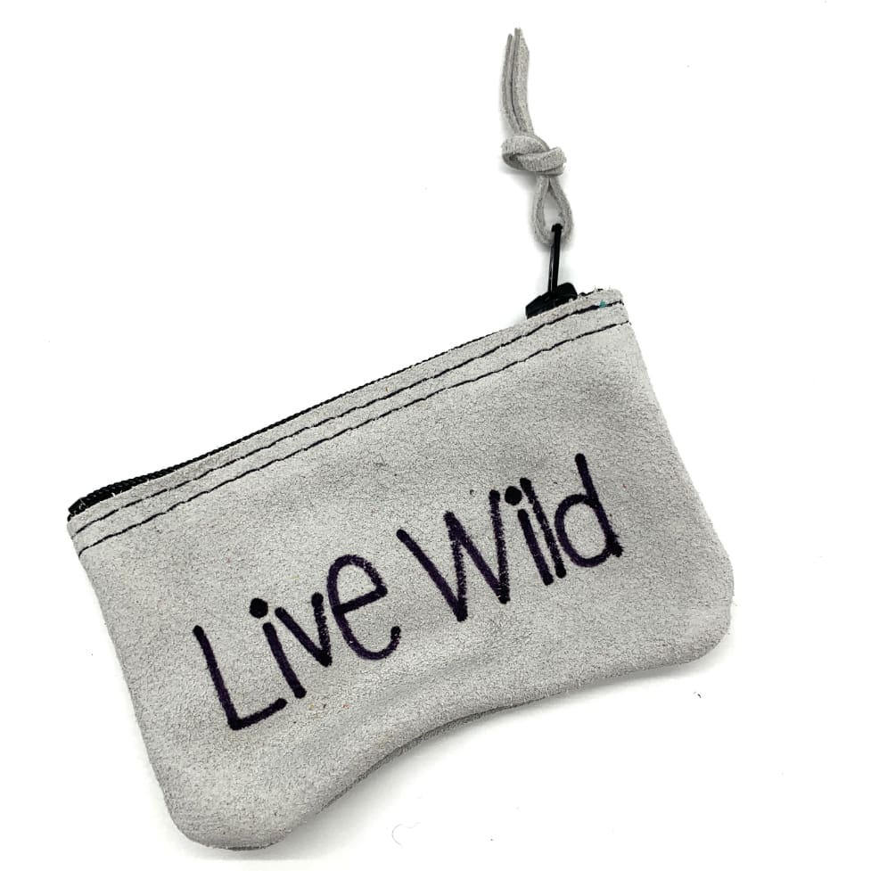 Leather Penny Purse Grey Live Wild - Penny Purse