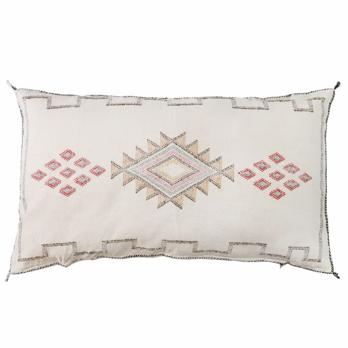Moroccan Cactus Silk Giant Lumbar Pillow White Wedding - Pillow