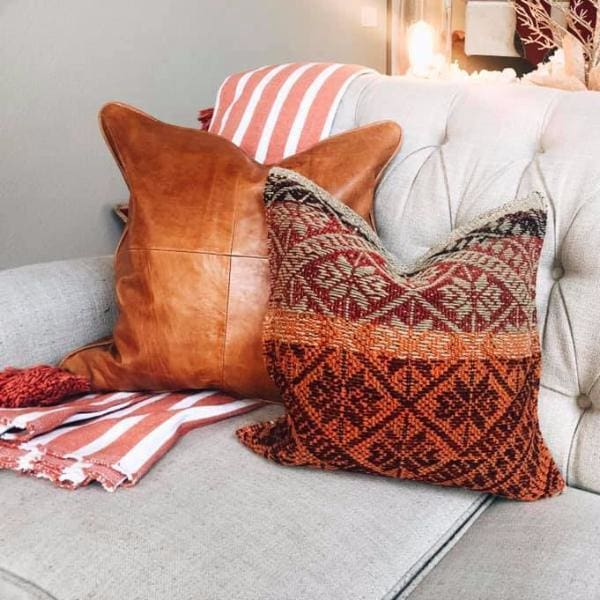 Moroccan Leather Pillow Harlow - Pillow