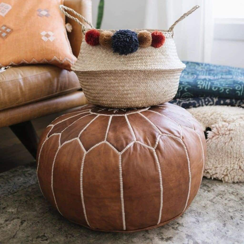 Moroccan Floor Pouf Saddle Brown (Back in Stock!) - Pouf