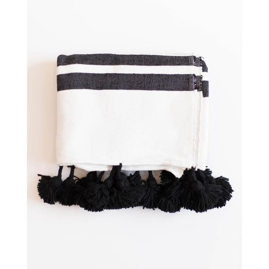 Moroccan Pom Blanket Ebony - Throw