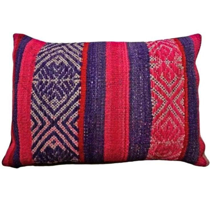 Peruvian Vintage Frazada Pillow Lumbar Del Mar - Pillow