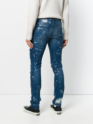 Mens- Damaged Skiny Blue Jeans. - THE UNIQUE FIT