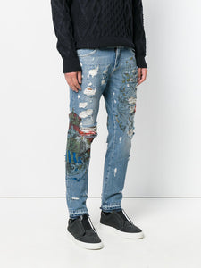 Classic Blue- Patch Ripped Jeans( direct purchase) - THE UNIQUE FIT
