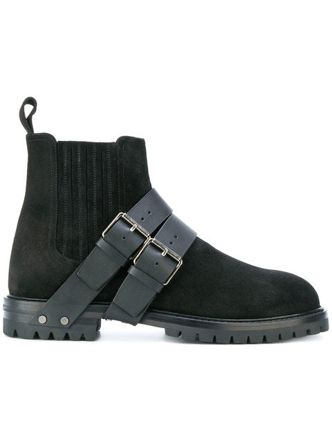 Mens Black-Strap detailed boots - THE UNIQUE FIT