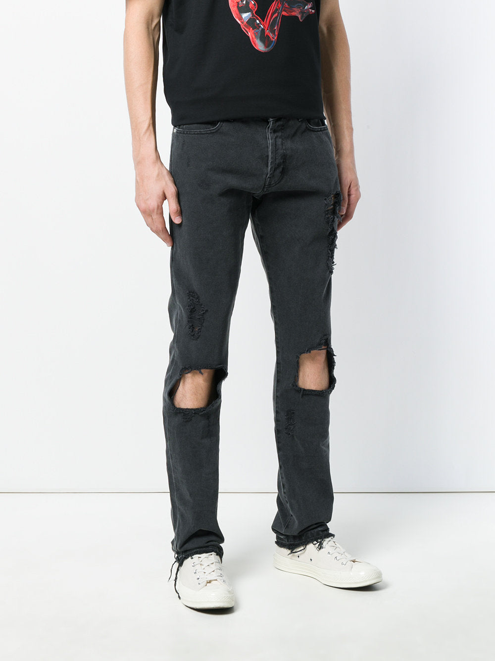 Mens-Moto Dark Grey  Ripped jeans - THE UNIQUE FIT