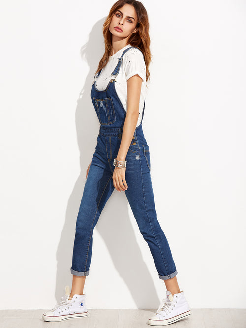 Blue Strap Ripped Overall Jeans With Pocket - THE UNIQUE FIT