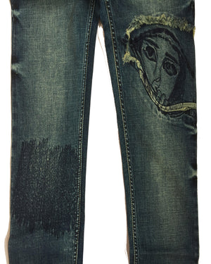 Slim Fit Denim jeans-patch(bottle green) - THE UNIQUE FIT