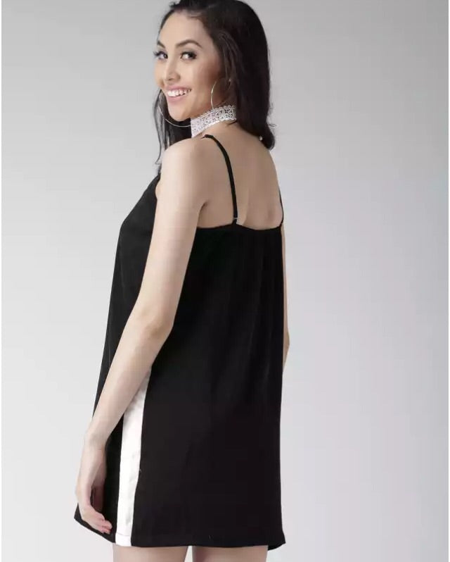 Women's-Solid black velvet dress - THE UNIQUE FIT