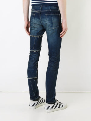 Men's - skinny ripped dark blue Denim jeans (Contest) - THE UNIQUE FIT