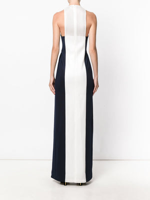 Women's- Striped Navy White Gown - THE UNIQUE FIT