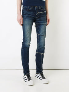 Men's - skinny ripped dark blue Denim jeans (mj11) - THE UNIQUE FIT