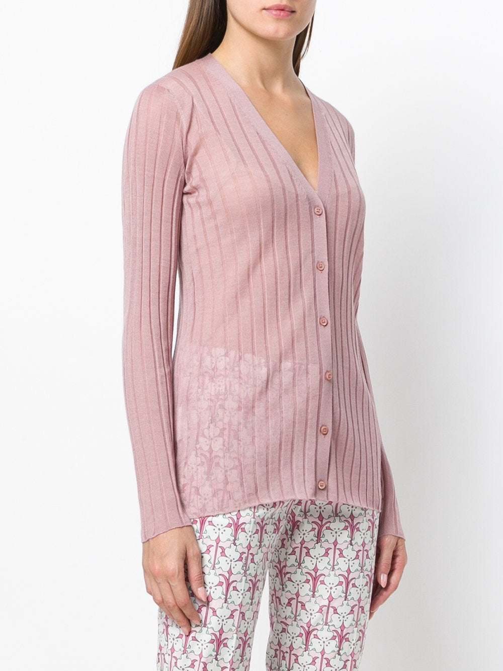 Women's-cashmere wool pink cardigan - THE UNIQUE FIT