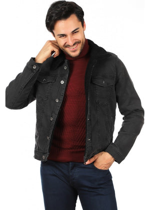 Men's Grey Denim Fur Jacket(Contest)