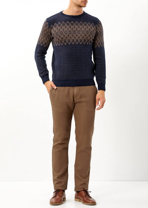 Men's Patterned Navy Blue Merino Pullover - THE UNIQUE FIT