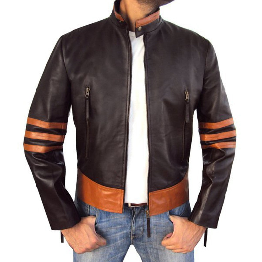 Men 's PU Leather Brown Jacket