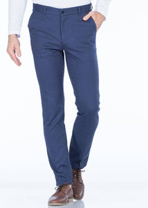 Men's Regular Fit Blue Chino Pants - THE UNIQUE FIT