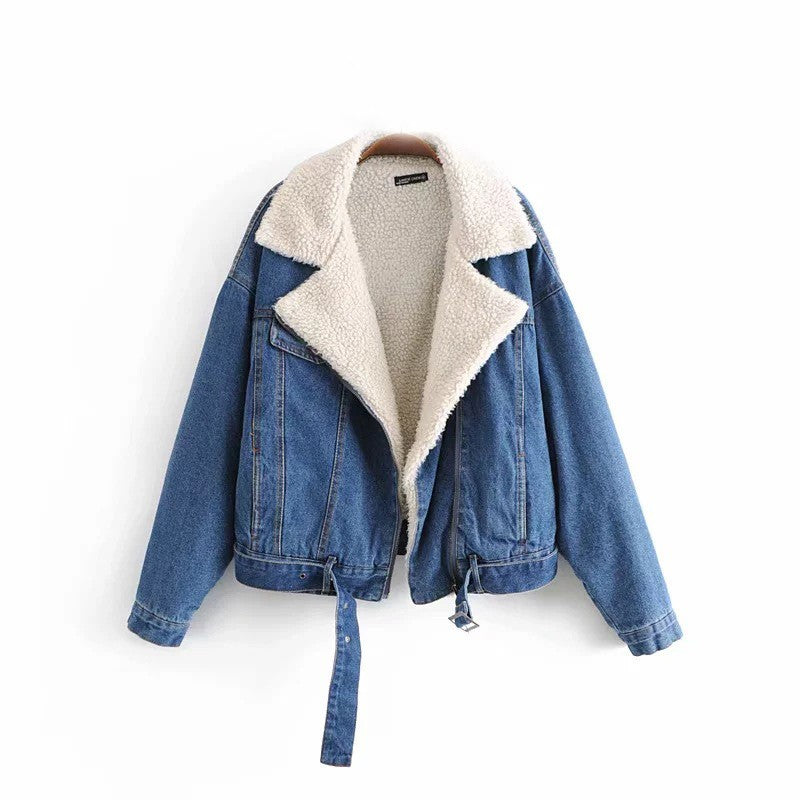 Women Winter Warm Cashmere Cardigan Denim Jacket (Contest)